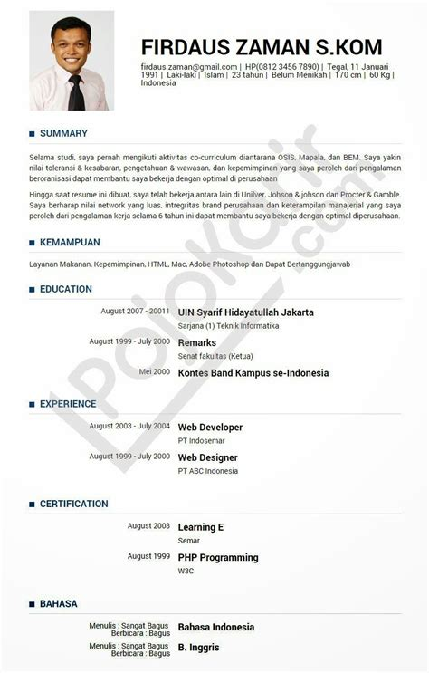 contoh resume kerja biasa resume pdf download