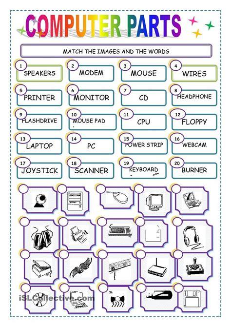 match  computer parts worksheet  esl printable worksheets   teachers
