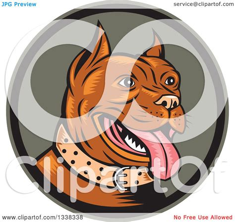 clipart of a retro woodcut clipart of a retro happy woodcut brown pitbull