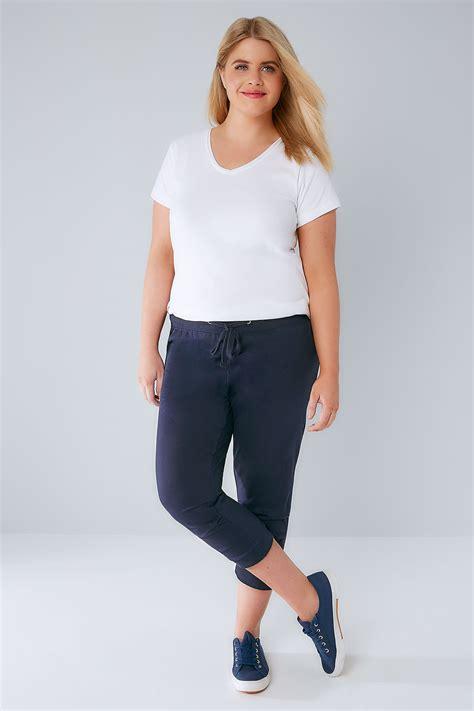 Fashion Wanita All Asli Wash Basic navy basic cotton jersey cropped joggers with fold detail plus size 16 to 36