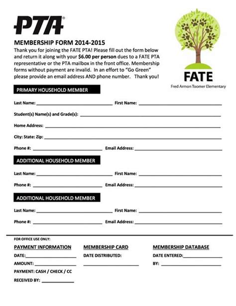 pta membership form template pta meeting agenda template search ptso ideas