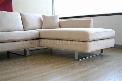 Upholstery San Jose Contemporary Sectional Sofa In Off White Microfiber
