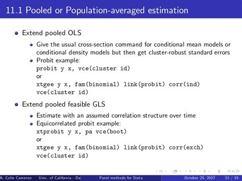 cross sectional data stata panel data methods for microeconometrics using stata