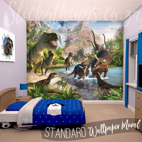wall stickers and murals dinosaur wall mural realistic dinosaur land wallpaper stickythings south africa