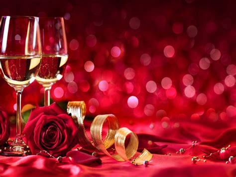 valentines day romantic celebration  glasses  white wine red roses red background hd