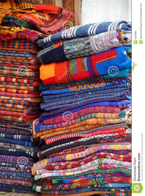 Handcrafted Textiles - handmade linens streets antigua royalty free stock photo