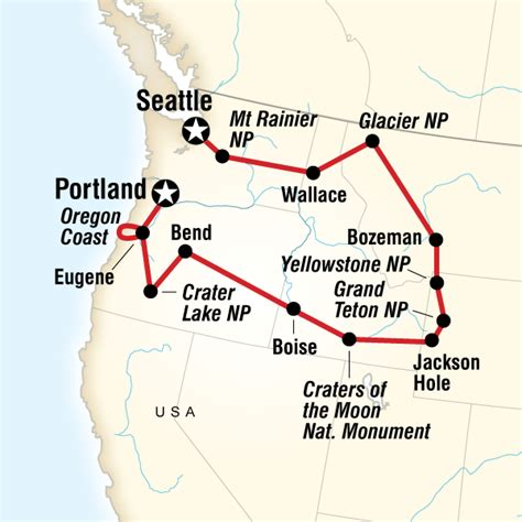 seattle to west yellowstone map national parks of the northwest us in united states