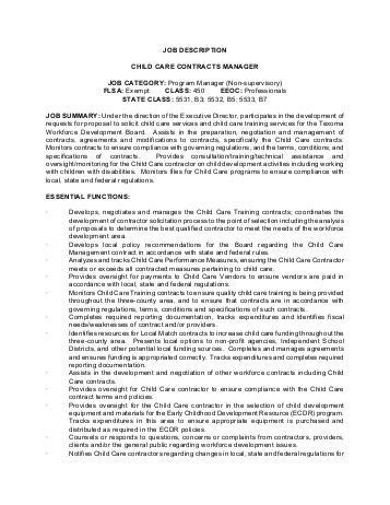 description contract manager the city of burnet