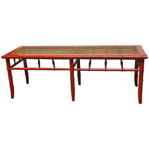 cane bench red lacquer faux bamboo cane bench at 1stdibs