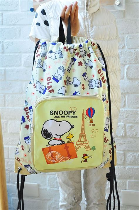 Snoopy Front peanutes snoopy drawstring backpack w front pocket rucksack school bag travel a trip