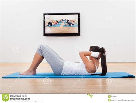 athletic working out at home stock photo image