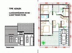 contoh denah desain rumah  lantai type  home pinterest