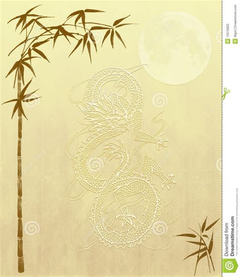 background design on paper chinese dragon and bamboo background paper stock