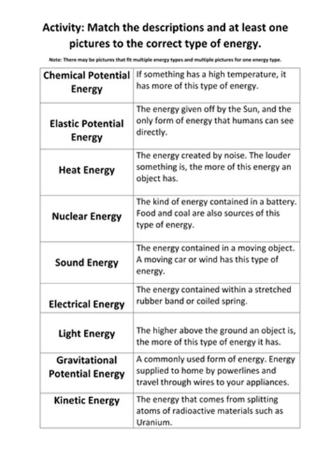 Types Of Energy Worksheet Answers by Types Of Energy Match Up Activity By Maryalex Teaching
