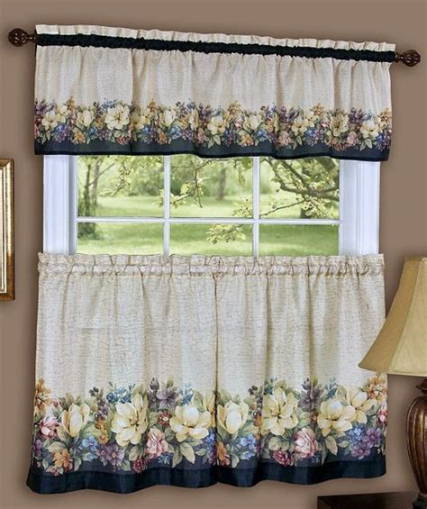 antique floral curtain valance tier set by achim