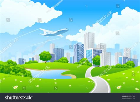 City Landscape Vector Green City Landscape Road Lake Sky Stock Vector 68917666