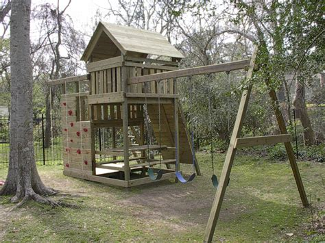 kids backyard store gemini playset diy wood fort and swingset plans
