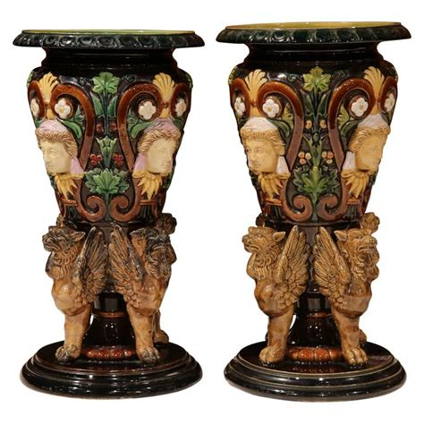 Vases With Faces by Pair Of 20th Century Italian Painted Majolica Vases With