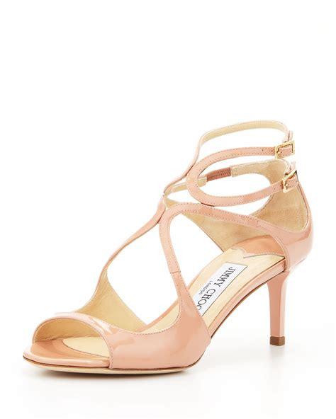 blush sandals jimmy choo lila patent crisscross sandal blush in pink