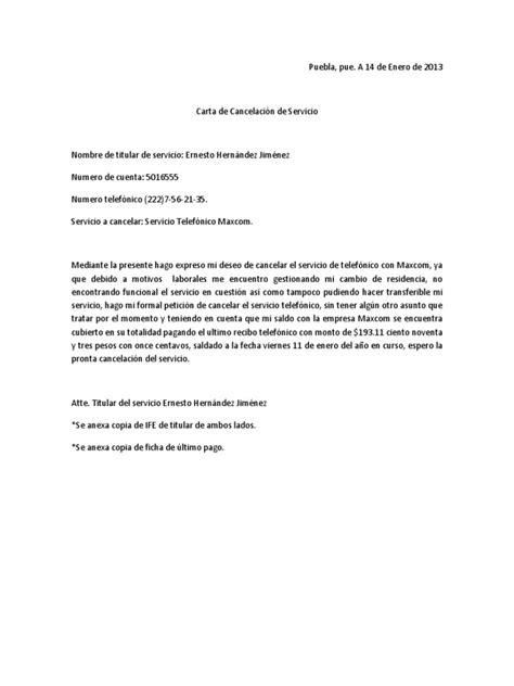 carta de cancelacion de servicio docx