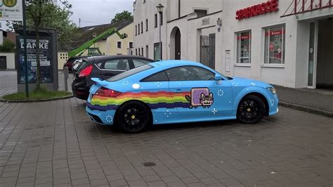 wrapped audi tt the nyan cat is alive it s wrapped on an audi tt in