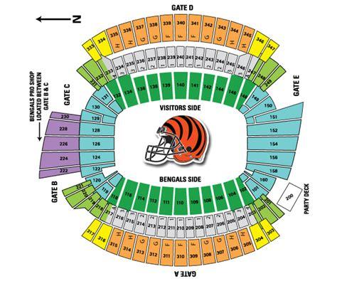 cincinnati bengals stadium seating bengals seating chart bengals seating chart with rows