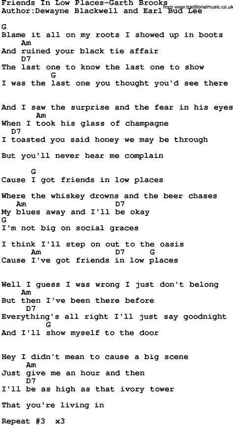in lyrics country friends in low places garth lyrics