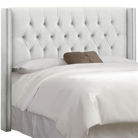 skyline upholstered diamond tufted wingback king headboard