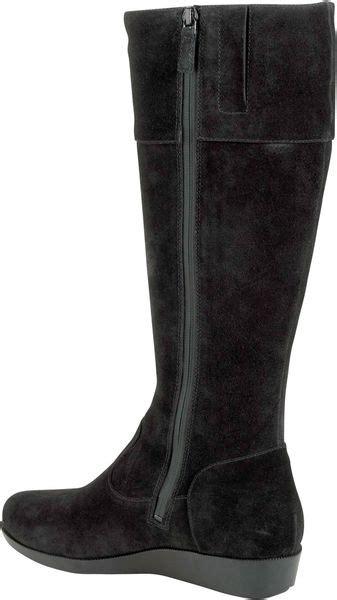 cole haan tali suede boots in black black suede lyst