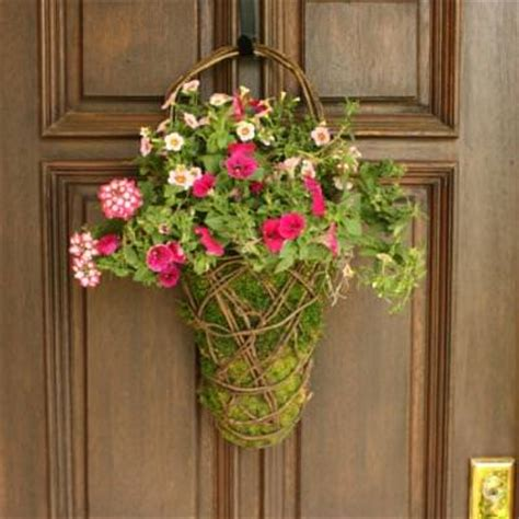 Front Door Flower Arrangements Easy Front Door Moss Basket Flower Arrangements Tip Junkie
