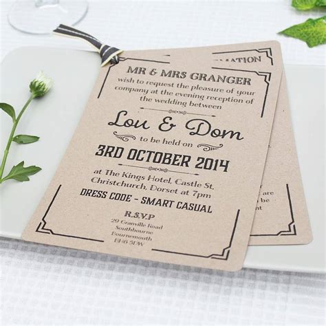 wedding invitations evening gatsby style wedding evening invitation by lou brown designs notonthehighstreet