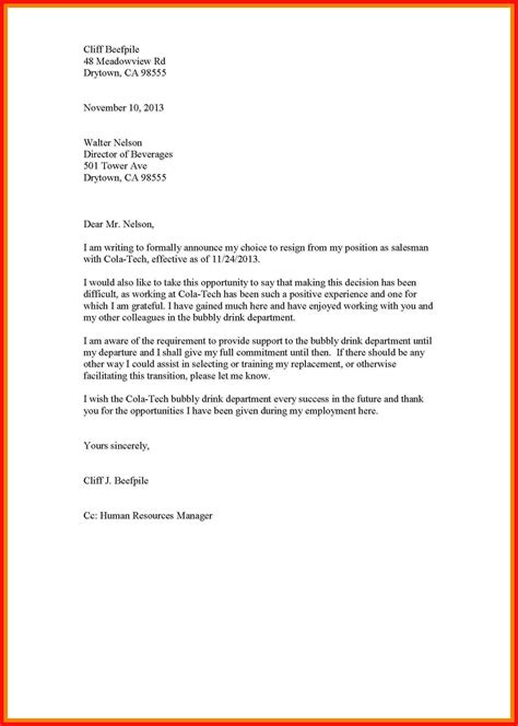 how to properly a properly write a formal letter of resignation cover letter templates