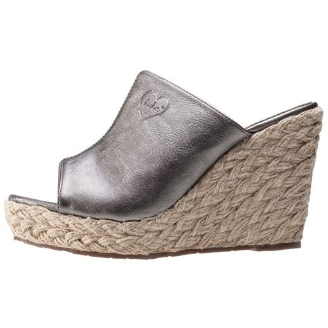 Wedge Mules fabulous fabs metallic mule womens wedges in pewter