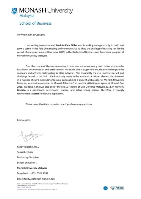 Recommendation Letter For Offer Recommendation Letter Monash