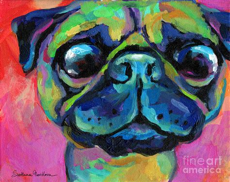 pug painting bug eyed pug painting by svetlana novikova