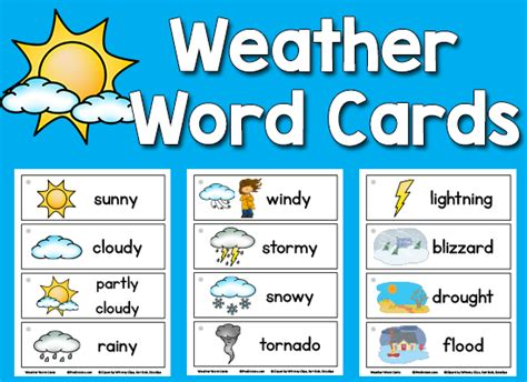 weather pattern words weather picture word cards kindergarten weather and cards