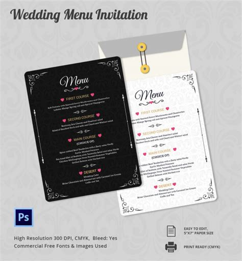 customizable wedding invitation templates wedding menu template 24 in pdf psd word