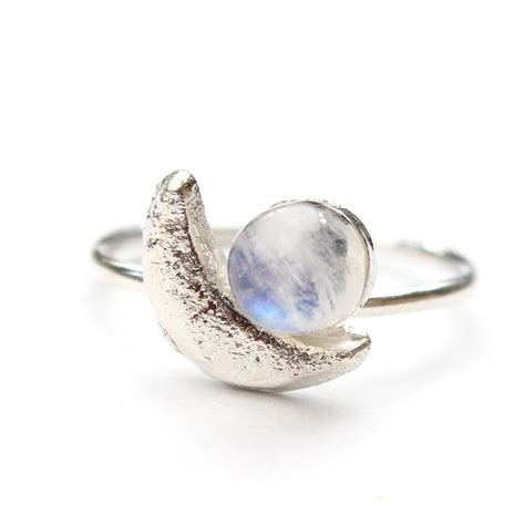 Moonstone Ring original silver crescent moon and moonstone ring jpg