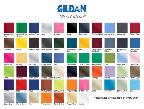 color swatch gildan color swatches 171 elite screen printing