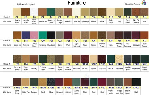 leather dye color chart for furniture