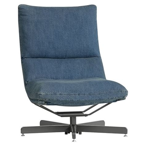 denim maverick swivel lounge chair ottoman pbteen