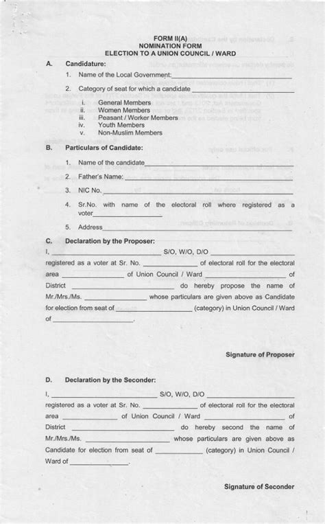 Credit Union Form Of Nomination Nomination Form Local Govt Election Punjab To Union Council Ward