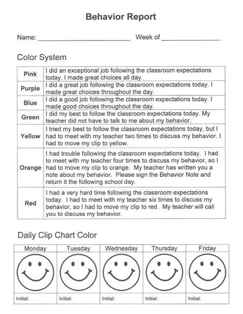 Daily School Report daily behavior report to use with clip chart classroom