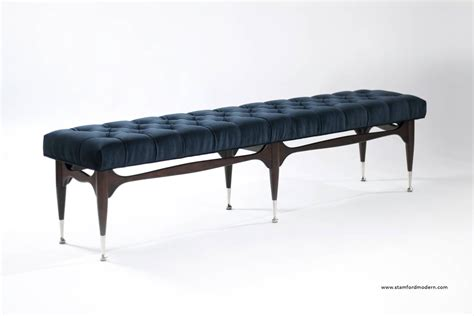 tuft bench midcentury sculptural tufted bench in navy blue velvet for