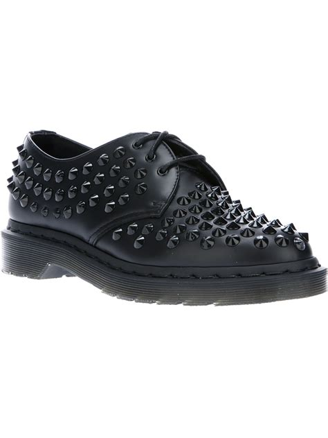 dr martens harlen studded shoe in black lyst