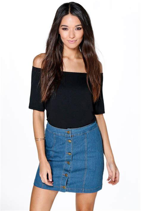 hollie button front denim mini skirt