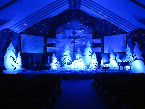 christmas stage decoration whoville trees church stage design ideas