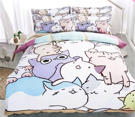cat design quilt cover cartoon cat pattern bedding set duvet cover pillowcase