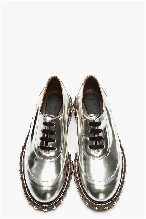 marni metallic silver leather studded shoes ijshoes