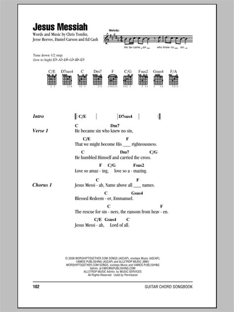 guitar tutorial in jesus name jesus messiah by chris tomlin guitar chords lyrics